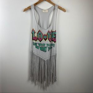 THE CLAS-SIC Love Fringe Tank Graphic Tee
